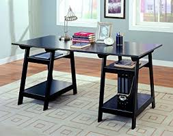 coaster contemporary computer workstation office desk table. Coaster Trestle Style Office Desk Table, Black Wood Finish Contemporary Computer Workstation Table O
