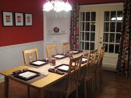 dazzling warm red paint colors wall decors added white wainscoting also rectangle wood dining table for six as decorate in red dining room ideas