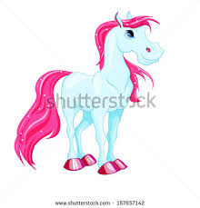 little fantasy blue horse with pink hair cute character child ilration