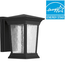 progress lighting arrive collection 1 light outdoor 6 inch black led wall lantern p6067 3130k9 the home depot