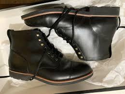 j crew mens kenton leather cap toe boots size 12 black 248 retail f4446