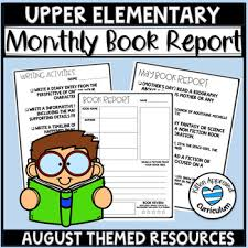 Summer Reading Logs August Book Report Monthly Template