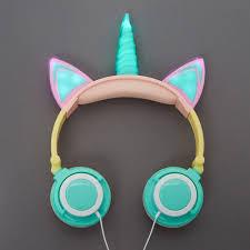 Unicorn Light Up Headphones Gabba Goods Rainbow Light Up Unicorn Headphones