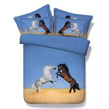 brown horses bedding sets 3 3d animals printed comforter cover king queen twin sizes bedspreads 500tc boys linens woven black and white bedding sets