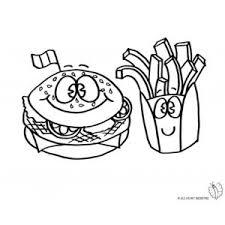 Disegno Di Panino E Patatine Da Colorare Disegni Di Alimenti Da