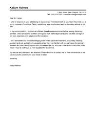 Hotel Front Desk Cover Letter The Letter Sample Resume For Study