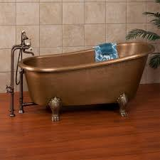 great bath tub with claws foot combined copper materials also wooden