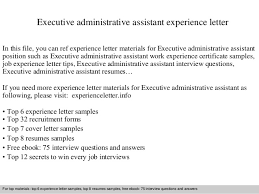 executive administrative assistant experience letter jpg cb  executive administrative assistant experience letter in this file you can ref experience letter materials for