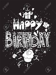 Black Happy Birthday Happy Birthday Greeting Card In Black White Theme With Gift And