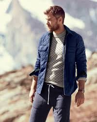 How to Wear a Navy Quilted Barn Jacket (4 looks) | Men's Fashion & A navy blue quilted jacket with dark grey track pants has become an  essential combination for Adamdwight.com