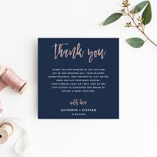 Wedding Thank You Notes Templates Navy Blue Rose Gold Wedding Thank You Card Templates Modern Script Wedding Thank You Card Templates Printable Wedding Thank You Card