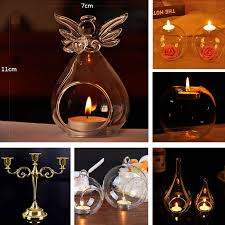 6pc hanging clear glass bauble sphere candle sticks tea light holder xmas garden