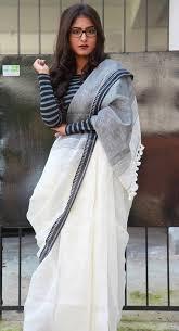 Graduation Saree Design Black And White Linen Saree Mulberrys Pinned By Sujayita