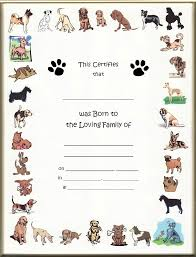 dog birth certificates dog birth certificates page