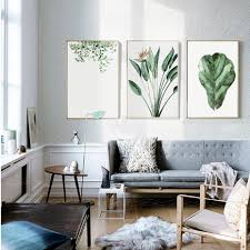 Office wall art Graphic Designer Previous Slide Tay Online Store Watercolor Green Plants Leaves Canvas Paintings Nordic Scandinavian