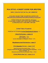 Mla Style Documents Mla Style A Short Guide For Writers Wor Wic Community College