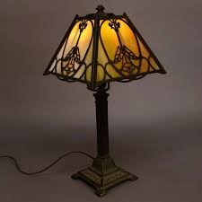 arts and crafts antique school slag glass table lamp lamps murano id f antique glass table lamps