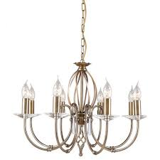 elstead lighting aegean 8lt chandelier aged brass