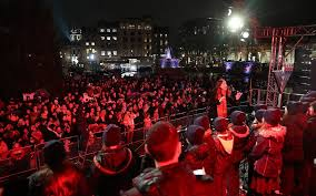 thousands braved the cold and rain to celebrate chanukah at one of london s most iconic landmarks on wednesday evening