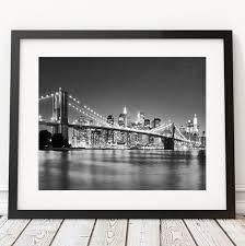 modern new york city brooklyn bridge black white pictures canvas art home decor painting on