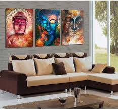3 pieces buddha image portrait art painting canvas wall art picture home decoration living room