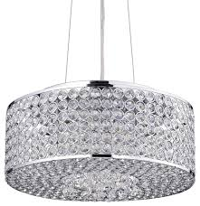 round drum crystal shade chandelier chrome contemporary pendant lighting
