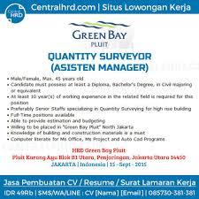loker quantity surveyor green bay pluit jakarta centralhrd info loker quantity surveyor green bay pluit jakarta centralhrd
