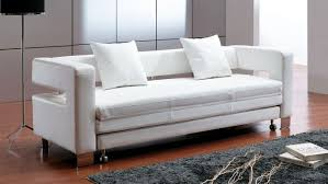 Furniture White Leather Sleeper Sofa Remarkable On Furniture With