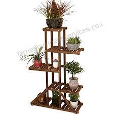 qzp flower stand 5 tiered ladder wooden garden display shelves balcony living room shelf plant flower