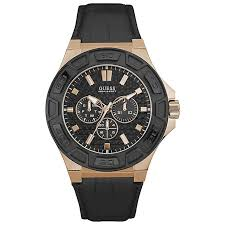 guess men s black dial black leather strap watch h samuel guess men s black dial black leather strap watch product number 5248655