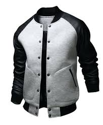 leather letterman jacket grey and black faux varsity mens