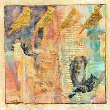 contemporary mixed media abstract bird painting grandmother s love by abstract artist pamela fowler lordi