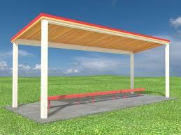 steel frame single slope park shelter