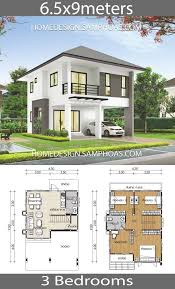 Small house plans 6.5x9m with 3 bedrooms - Home Ideassearch | Small house  plans, Two story house design, Cabin house plans