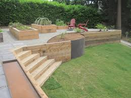 Small Picture wood retaining wall plantersjpg retainer walls Pinterest