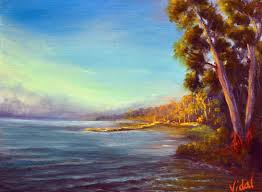 an oil on linen painting of with early morning lights on nambucca river by chris vidal