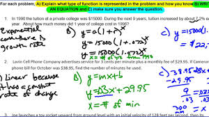 unit 10 lesson 7 linear quadratic and exponential word problems