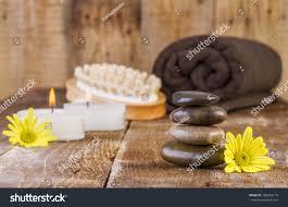 zen basalt stones spa objects candles stock photo
