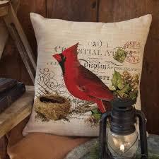 heritage lace winter garden natural cardinal decorative pillow cnw1818na 0893 the home depot