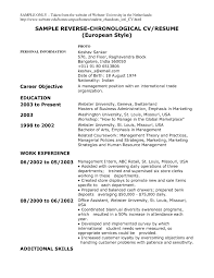 Sample Resume Reverse Chronological Order 13 Resume Formater Best