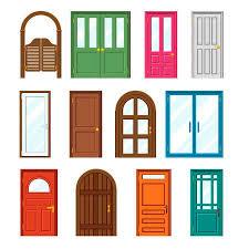doors clipart. Perfect Clipart Set Of Front Buildings Doors In Flat Design Style Exterior And Entrance  Wooden Doorway Throughout Doors Clipart 123RFcom
