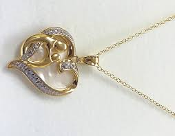 gorgeous 0 03 carat mother child white crystal heart pendant necklace in 18k gold plated 0