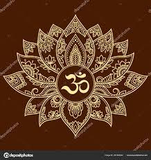 менди Lotus цветочный узор мантру символом рисунок хной татуировки