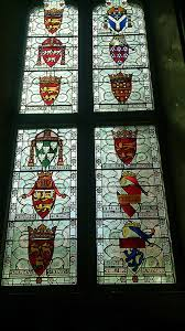 an armorial window in the great hall