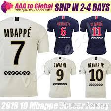 2019 Neymar 18 Soccer Di Survetement Verratti Cavani Jr 19 Wear Blue Maria Football Jersey Mbappe