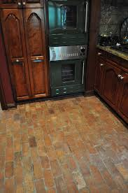 Brick Floor In Kitchen Old Grey Square Brick Wall And Wooden Floor Stock Photo Loversiq