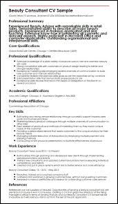 Product Consultant Resumes Beauty Consultant Cv Sample Myperfectcv