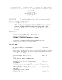 Culinary Arts Resume Sample culinary resume examples sample resume for hospitality major 1