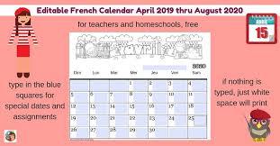 2020 Calendar Editable Editable French Calendar April 2019 August 2020 Castle