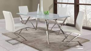 ... Tempered White Glass Table Zig Zag Dining Chairs Tempered Steel Kitchen  And Chairs Full Size